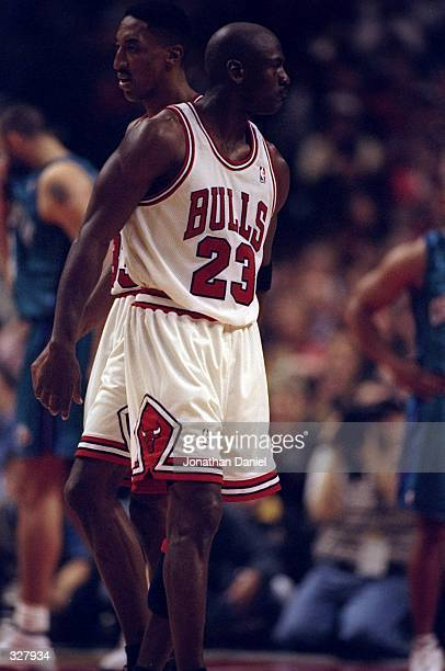 8723d6a66a Michael Jordan and Scottie Pippen of the Chicago Bulls in action during the  NBA Playoffs round