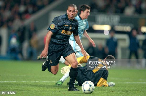 May 1998 Paris, UEFA Cup Final - Lazio v Internazionale - Ronaldo of Inter takes the ball past Lazio goalkeeper Luca Marchegiani before scoring the...