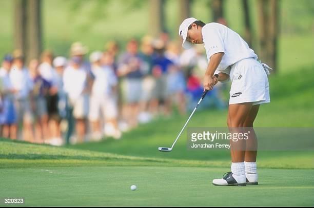 Se Ri Pak of South Korea putts during the LPGA Championships in Wellington, Delaware. Mandatory Credit: Jon Ferry /Allsport