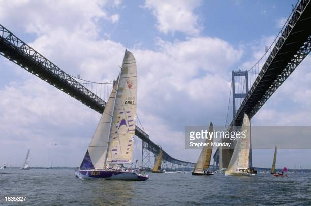 The Fleet tack under Chesapeake Bay Bridge at the start of the eight leg from Annapolis USA to La Rochelle France of the Whtibread Round the World...