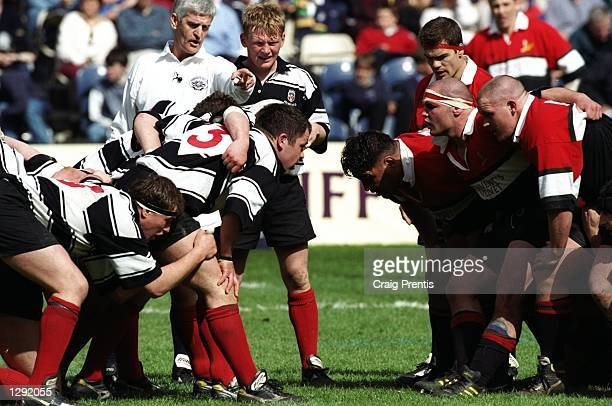The Glasgow Hawks and Kelso front rows prepare to scrummage during the Tennents Velvet Cup final at Murrayfield in Edinburgh, Scotland. Glasgow Hawks...