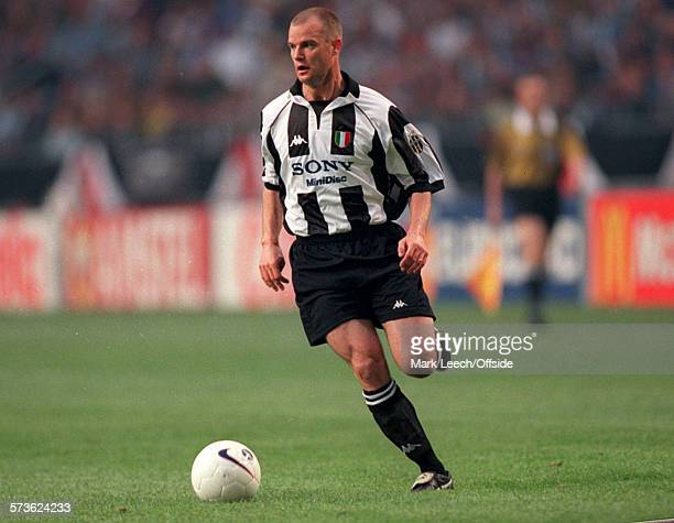 20 May 1998 UEFA Champions League Final Juventus v Real Madrid Gianluca Pessotto of Juventus runs with the ball