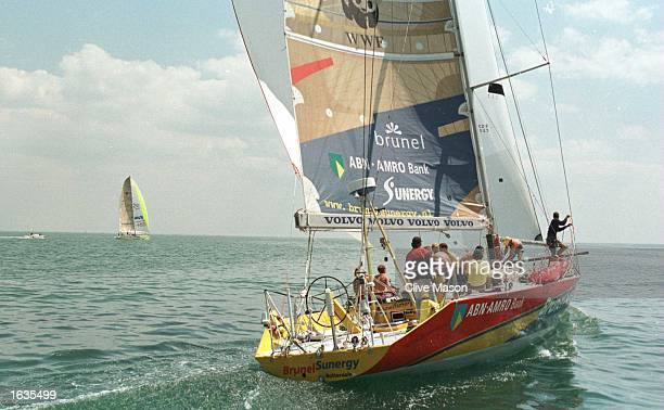 W60 BrunelSunergy skippered by Roy Heiner of Holland chasing W60 Innovation Kvaerner into La Rochelle France at the end of leg 8 of of the Whitbread...