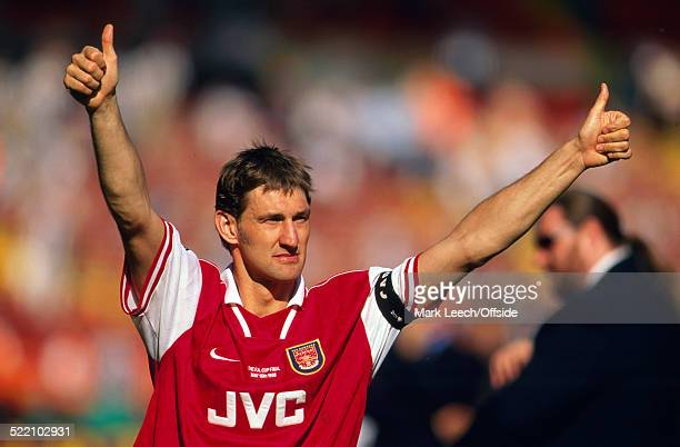 16 May 1998 Wembley FA Cup Final Arsenal v Newcastle United Arsenal captain Tony Adams gives the thumbs up to the fans after the match