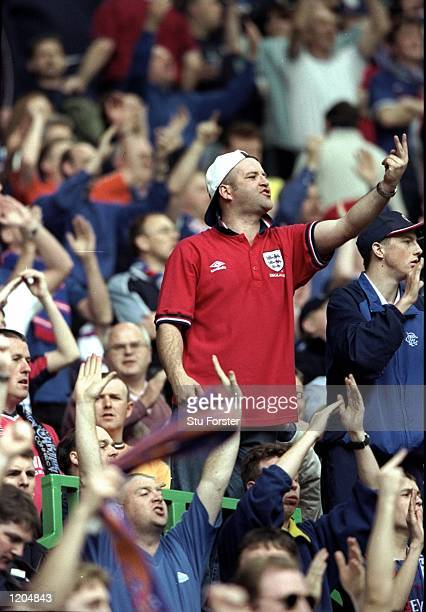 A Rangers fan gestures during the Scottish Premiership match against Celtic played at Celtic Park In Glasgow Scotland Rangers won the game 30 to win...