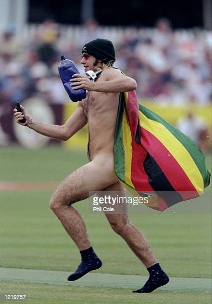 A streaker makes a run for it in the World Cup Group A game between Zimbabwe and South Africa at Chelmsford in England Zimbabwe won by 48 runs...