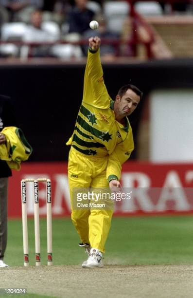 Adam Dale of Australia bowls during the Cricket World Cup warm up match against Somerset played at Taunton England Mandatory Credit Clive Mason...