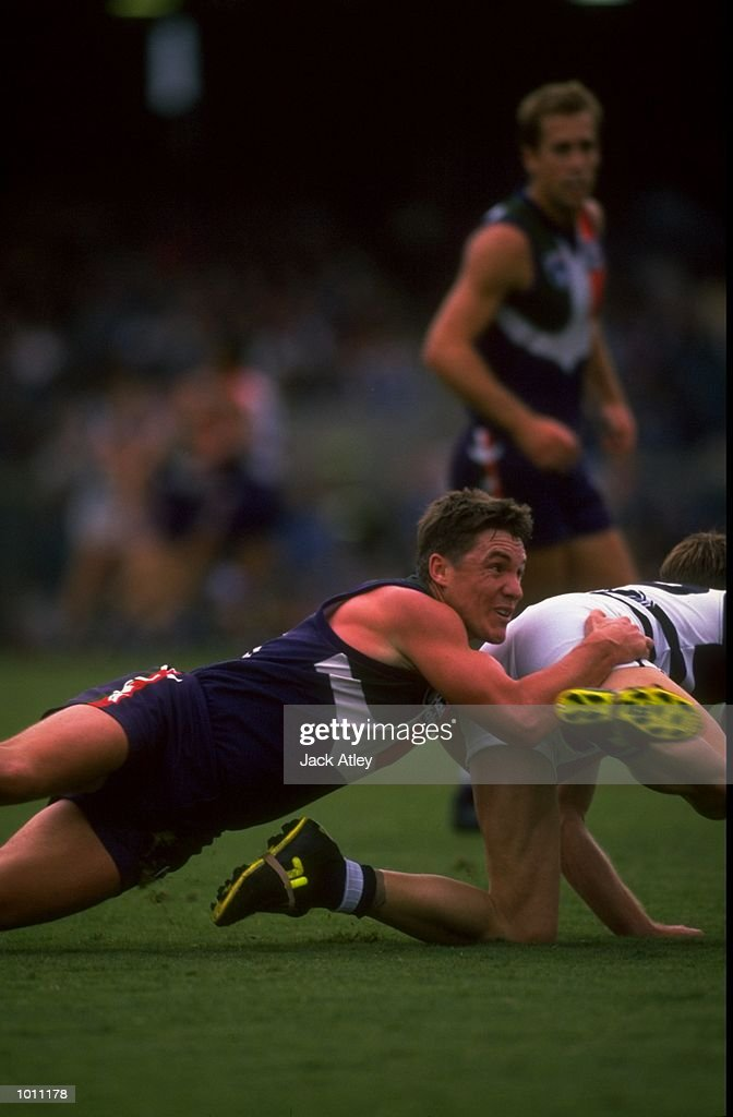 Adrian Fletcher of Fremantle in action during the Round 7 AFL Football match against Geelong played at the Subiaco Oval in Perth, Australia. \ Mandatory Credit: Jack Atley /Allsport