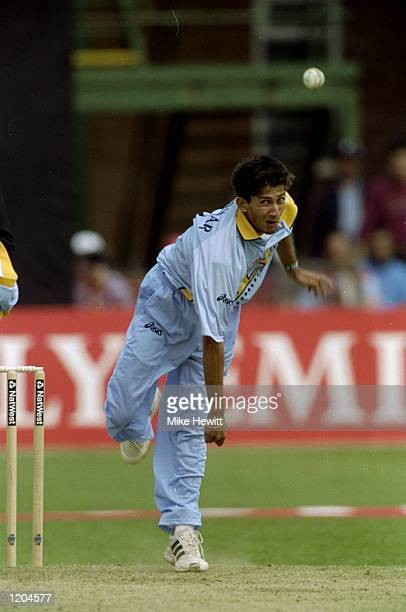 Ajit Agarkar of India is bowls during the Cricket World Cup Group A match against Zimbabwe played in Leicester England Zimbabwe won the game by 3...