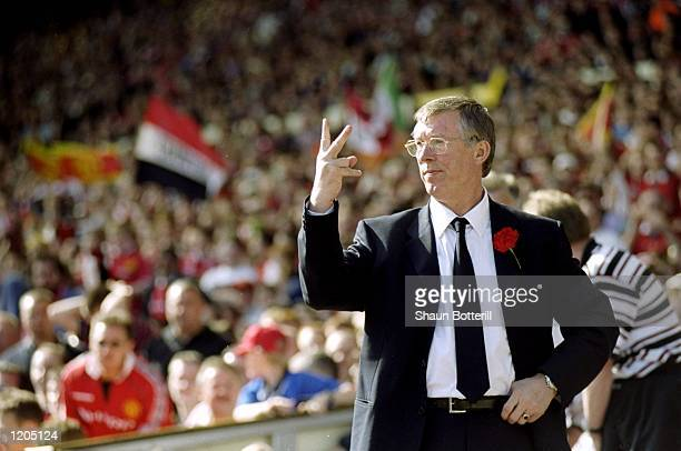 Alex Ferguson the manager of Manchester United in action during the AXA FA Cup Final match against Newcastle United played at Wembley Stadium in...