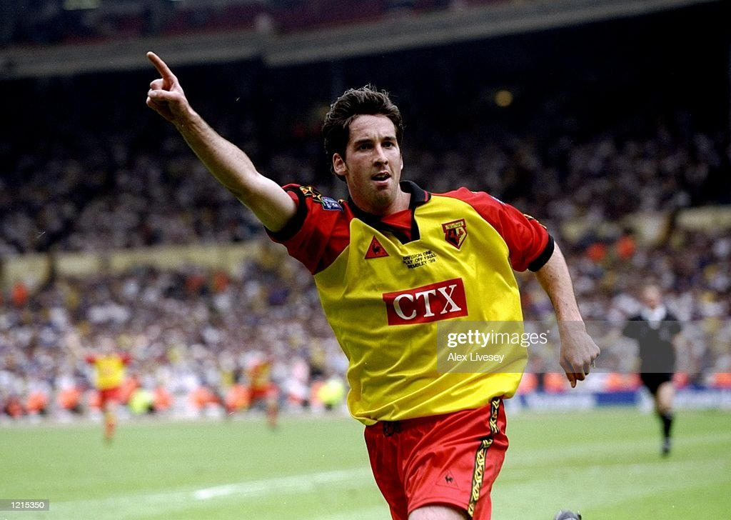 Allan Smart of Watford celebrates his goal during the Nationwide Division One Play-Off Final match against Bolton Wanderers played at Wembley Stadium in London, England. The match finished in a 0-2 victory for watford and they gained promotion to the premiership. \ Mandatory Credit: Alex Livesey /Allsport