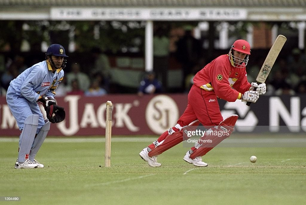 Andy Flower of Zimbabwe bats during the Cricket World Cup Group A match against India played in Leicester, England. Zimbabwe won the game by 3 runs. \ Mandatory Credit: Craig Prentis /Allsport