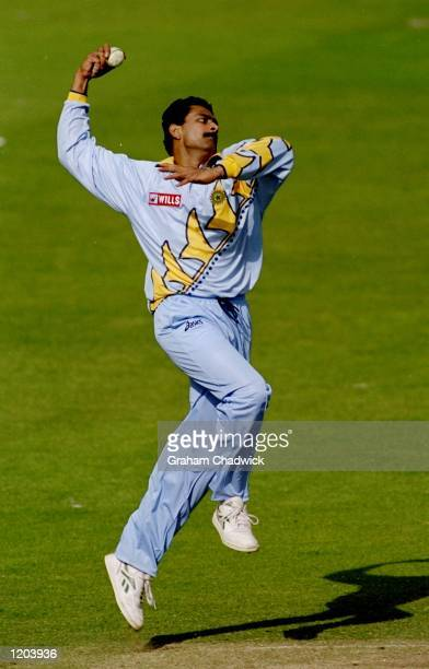 Anil Kumble of India bowls during a Cricket World Cup warm up match played against Nottinghamshire played at Trent Bridge in Nottingham England...