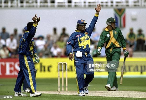 Arjuna Runatunga of Sri Lanka claims the controversial wicket of Shaun Pollock of South Africa during the Cricket World Cup Group A match played at...