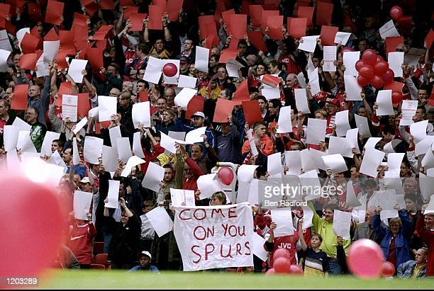 Arsenal fans show their support for Tottenham Hotspur during the FA Carling Premiership match against Aston Villa played at Highbury in London...