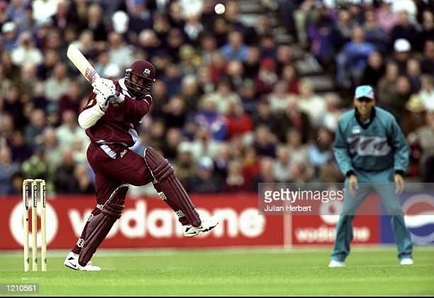 Brian Lara of the West Indies bats during the Cricket World Cup Group B match against New Zealand played in Southampton England The West Indies won...