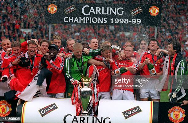 16 May 1999 Carling Premiership Manchester United v Tottenham Hotspur The Manchester United team celebrate as Champions of England with the...