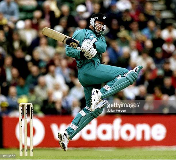 Chris Harris of New Zealand bats during the Cricket World Cup Group B match against the West Indies played in Southampton England The West Indies won...