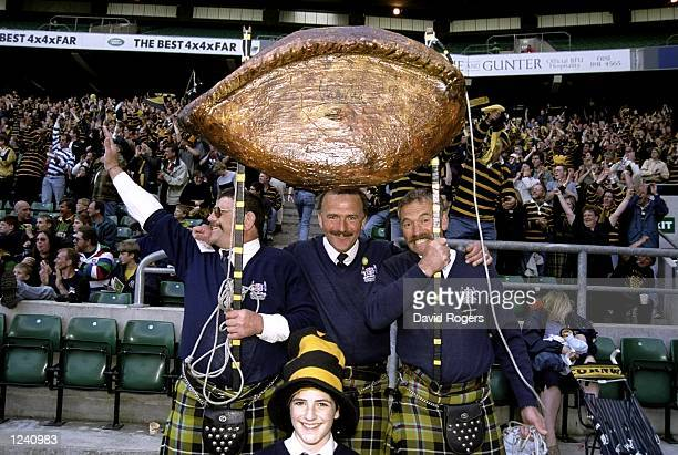 Cornish fans hold up a model Cornish Pasty the Tetleys County Championship played at Twickenham in London England Cornwall won the 2415 Mandatory...