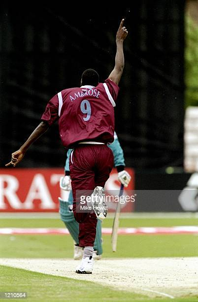 Curtly Ambrose of the West Indies appeals during the Cricket World Cup Group B match against New Zealand played in Southampton England The West...