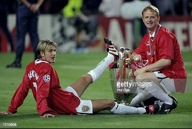 David Beckham and David May of Manchester United with the European Cup after United beat Bayern Munich in the European Champions League Final in the...