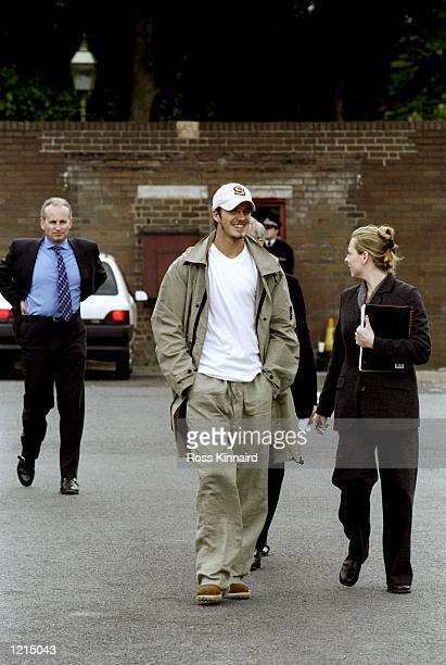 David Beckham of Manchester United arrives for training at the Cliff Training Ground in Manchester, England. \ Mandatory Credit: Ross Kinnaird...