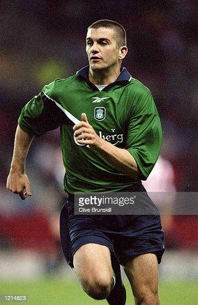 Dominic Matteo of Liverpool in action during the 100th League Championship Challenge match against Sunderland played at the Stadium of Light in...