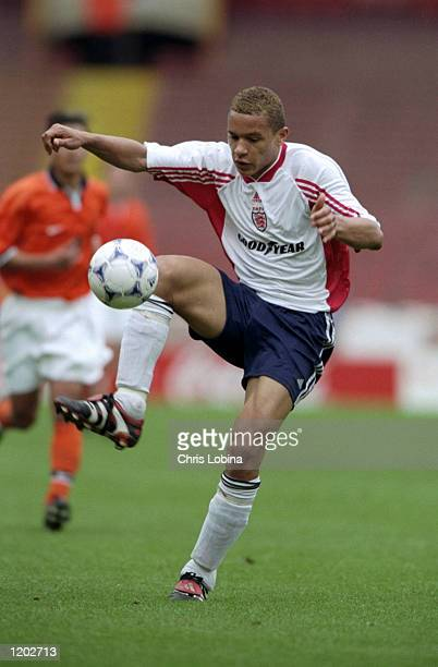 Elliott Onochie of England Under 18's in action during the international friendly against Holland under 18's played at Wembley Stadium in London,...