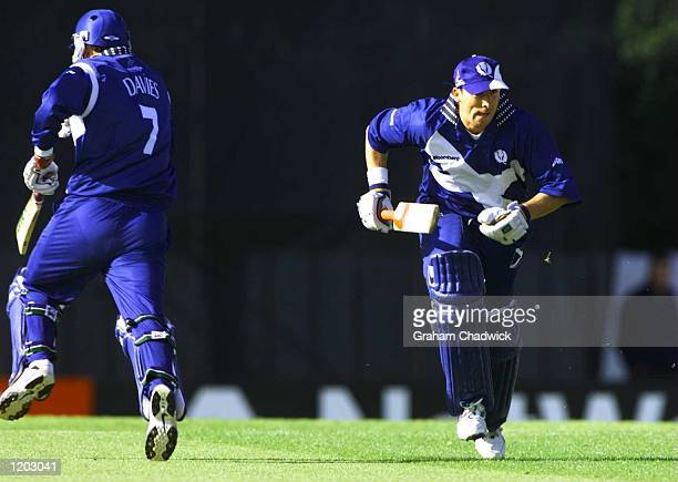 Gavin Hamilton of Scotland on his way to 62 during the match between Scotland and Bangladesh in Group B of the Cricket World Cup at The Grange...