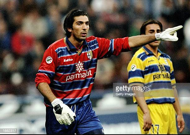 Gianluigi Buffon of Parma in action during the Serie A match against Inter Milan played at the San Siro Stadium in Milan Italy The match finished in...