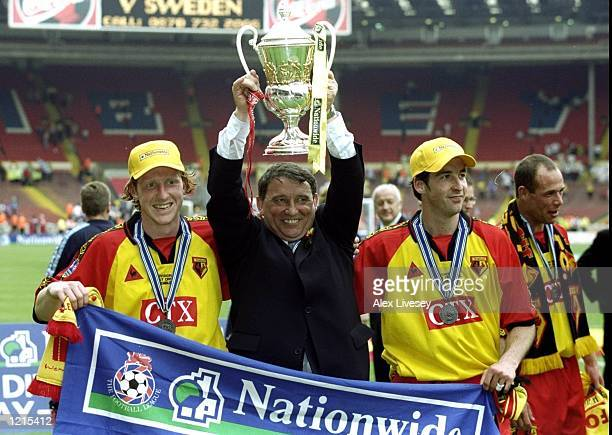 Goal scorers Nick Wright and Allan Smart celebrate promotion and victory with manager Graham Taylor during the Nationwide Division One Play-Off Final...