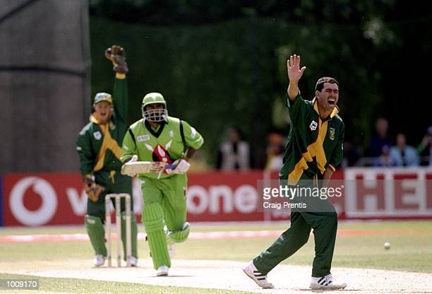 Hansie Cronje of South Africa traps Aasif Karim of Kenya lbw in the World Cup Group A game at the VRA Ground in Amstelveen Holland South Africa won...
