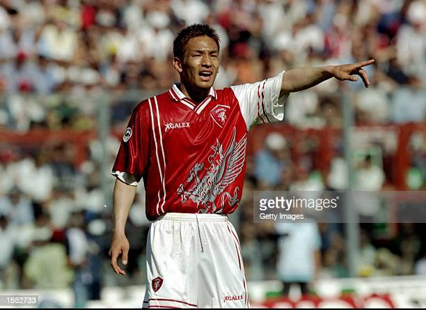 Hidetoshi Nakata of Perugia in action during the Serie A match against AC Milan at the Stadio Renato Curi in Perugia, Italy. The match finished in a...