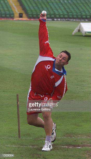 Ian Austin of England bowls in the nets during England training before tomorrow match between Zimbabwe at Trent Bridge Nottingham Mandatory Credit...