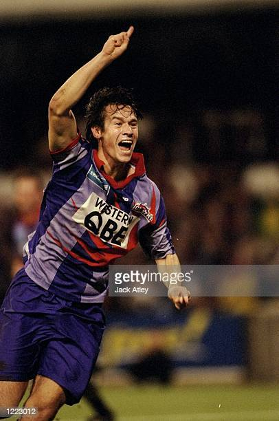 Jamie Harnwell of Perth Glory SC celebrates scoring his goal during the 1999 Ericsson Cup elimination final match against Adelaide played at the WACA...