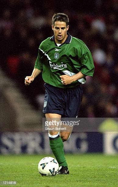 Jamie Redknapp of Liverpool in action during the 100th League Championship Challenge match against Sunderland played at the Stadium of Light in...