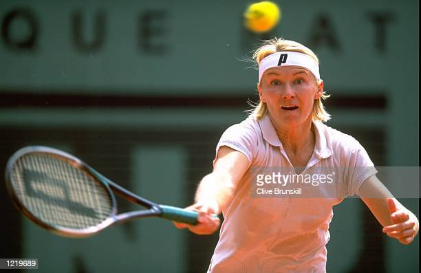 Jana Novotna of the Czech Republic in action during the French Open at Roland Garros in Paris Mandatory Credit Clive Brunskill /Allsport