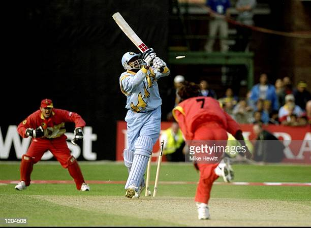 Javagal Srinath of India is bowled by Henry Olonga of Zimbabwe during the Cricket World Cup Group A match played in Leicester, England. Zimbabwe won...