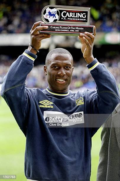 Kevin Campbell of Everton recieves the Carling Player of the Month Award before the FA Carling Premiership match against West Ham played at Goodison...