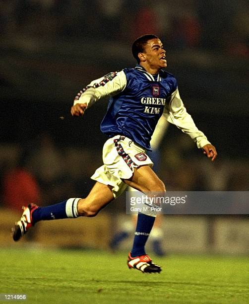 Kieron Dyer of Ipswich Town is jubilant during the Nationwide Division One SemiFinal PlayOff 2nd leg match against Bolton Wanderers played at Portman...