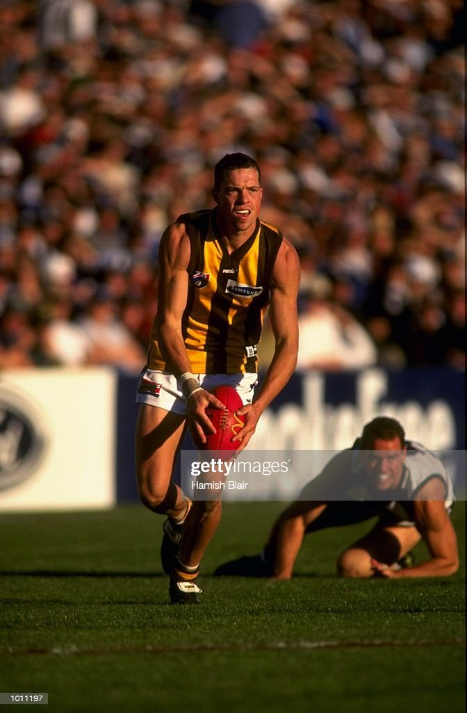 Kris Barlow of Hawthorn and Jason Snell of Geelong during the Round 6 AFL Football match played at Kardinia Park in Geelong, Australia. \ Mandatory Credit: Hamish Blair /Allsport