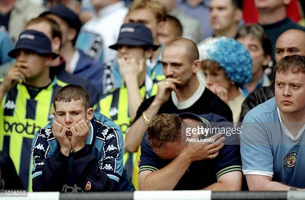 Manchester City are looking dejected before the epic comeback during the Nationwide Division Two Play-Off Final match against Gillingham played at...