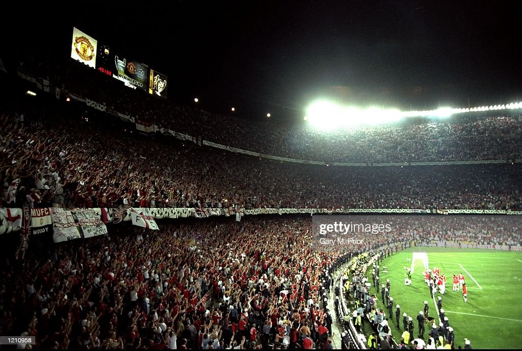 Manchester United fans celebrate victory in the European Champions League Final against Bayern Munich in the Nou Camp Stadium, Barcelona, Spain. Manchester United won 2 - 1 with both United goals scored during injury time, to secure the treble of League, FA Cup and European Cup. \ Mandatory Credit: Gary M Prior/Allsport