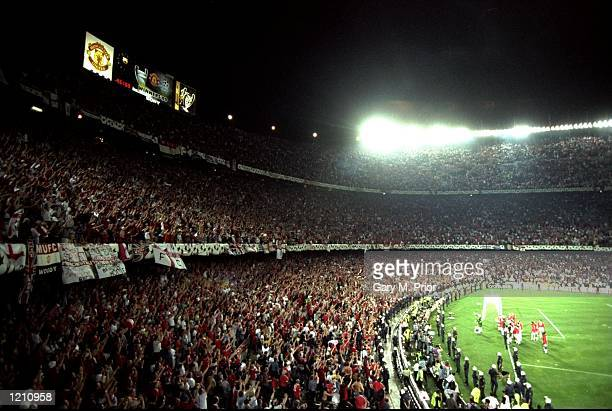 Manchester United fans celebrate victory in the European Champions League Final against Bayern Munich in the Nou Camp Stadium Barcelona Spain...