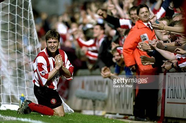 Marian Pahars of Southampton celebrates his goal during the FA Carling Premiership match against Everton played at the Dell in Southampton England...