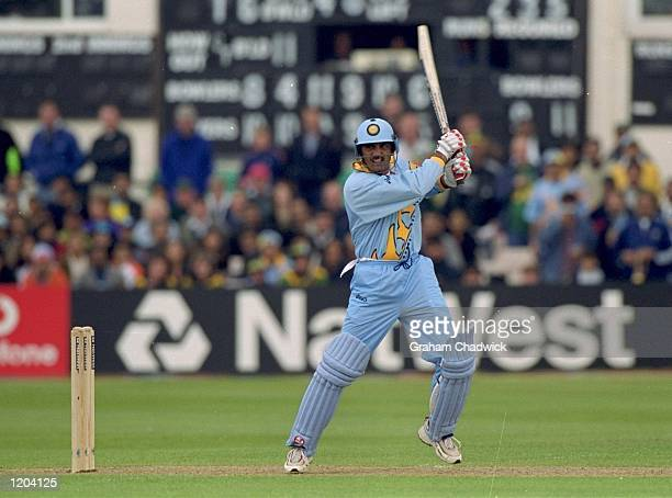 Mohammed Azharuddin of India bats during the Cricket World Cup Group A match against South Africa played at Hove England South Africa won the game by...