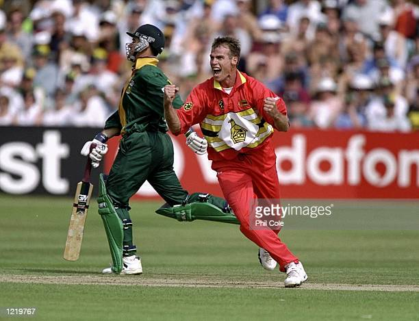 Neil Johnson of Zimbabwe celebrates a wicket during the World Cup Group A game against South Africa at Chelmsford in England Zimbabwe won by 48 runs...