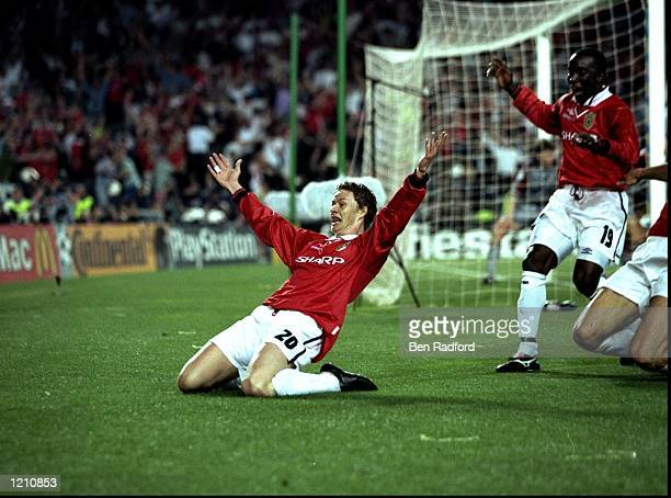 Ole Gunnar Solskjaer celebrates scoring the second goal for Manchester United during the European Champions League Final against Bayern Munich in the...