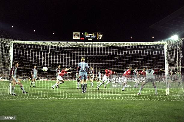Ole Gunnar Solskjaer scores the second and winning goal for Manchester United deep in injury time during the European Champions League Final against...