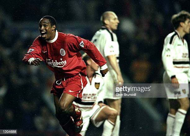 Paul Ince of Liverpool celebrates his goal during the FA Carling Premiership match against Manchester United played at Anfield in Liverpool England...